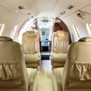 Beechcraft Premier 1a interior with cockpit of Exxaero private jet for six persons